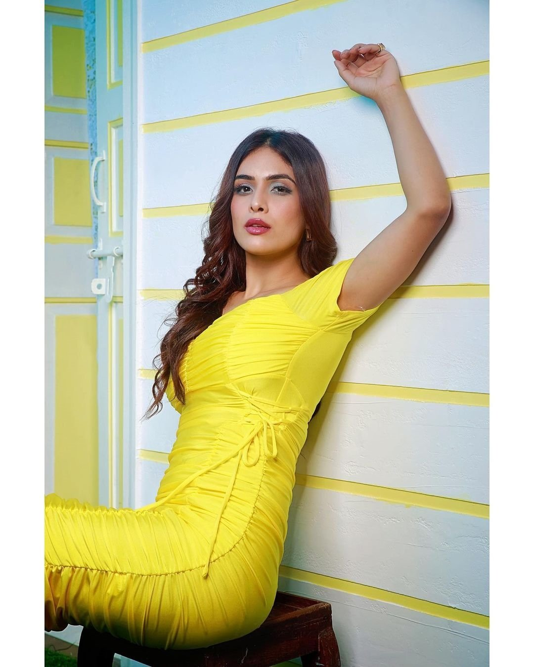 Neha Malik New Clicks In Yellow Dress