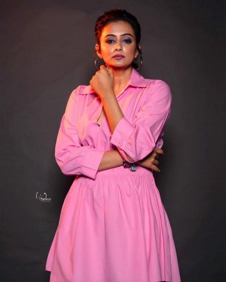 Priya Mani Hot Photos In Pink Frock