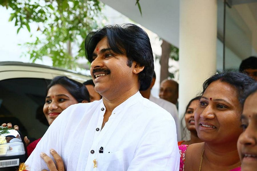 Pawan Kalyan with his wife at Janasena Party Office photos