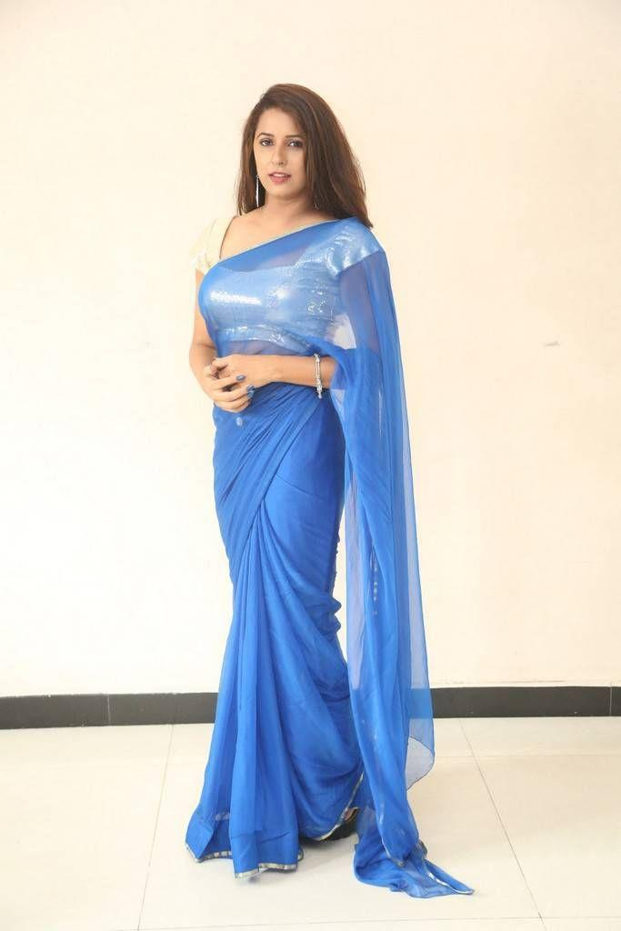 Actress Sravya Reddy Latest Hot Blue Saree Photos