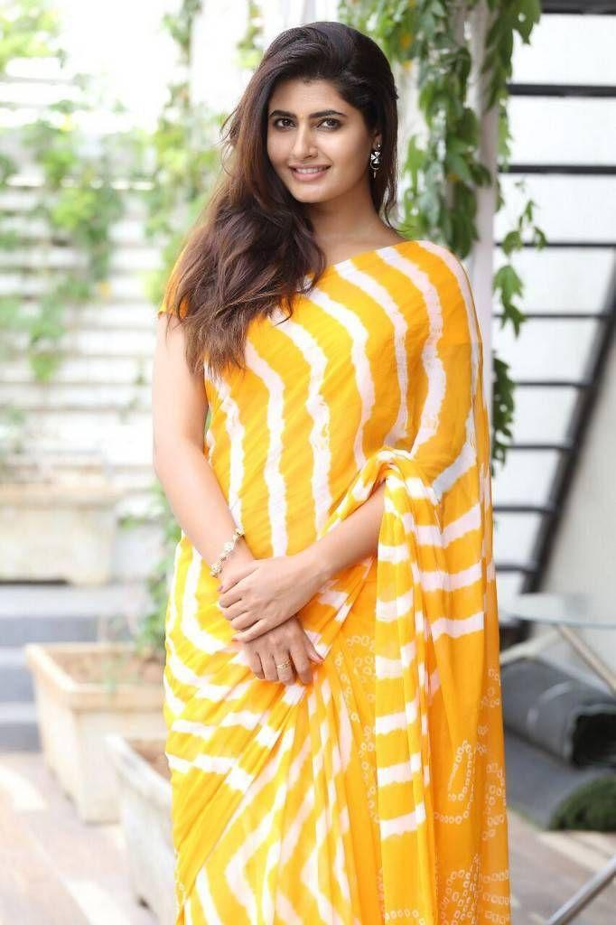 Ashima Narwal Photo Shoot In Yellow Saree Stills