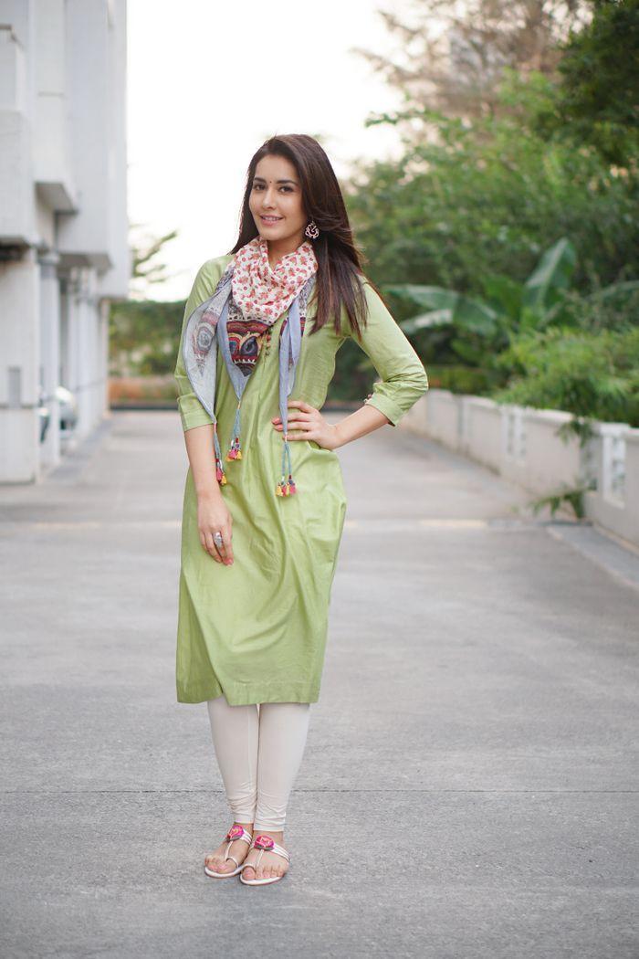 Raashi Khanna Stills In Light Olive Green Dress