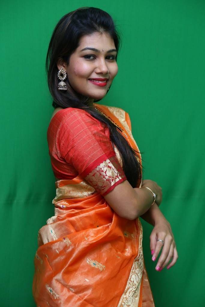 Rachana Smith Photo Shoot Stills In Traditional Orange Saree