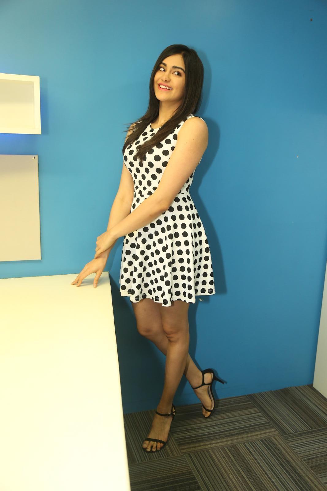 Adah Sharma Cute In A Black Dotted Short Frock During Press Meet