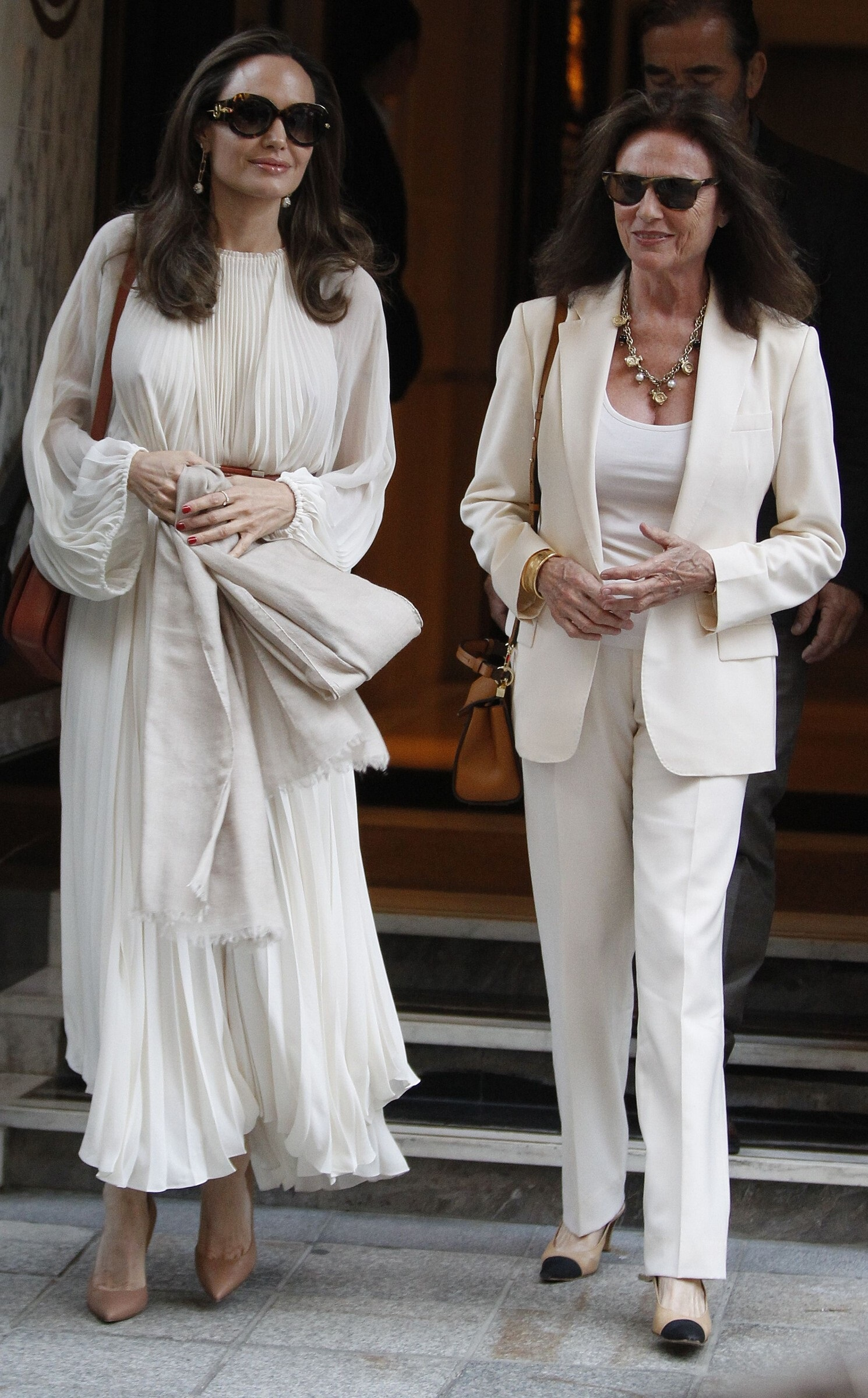 Angelina Jolie Spotted With Jacqueline Bisset At Paris