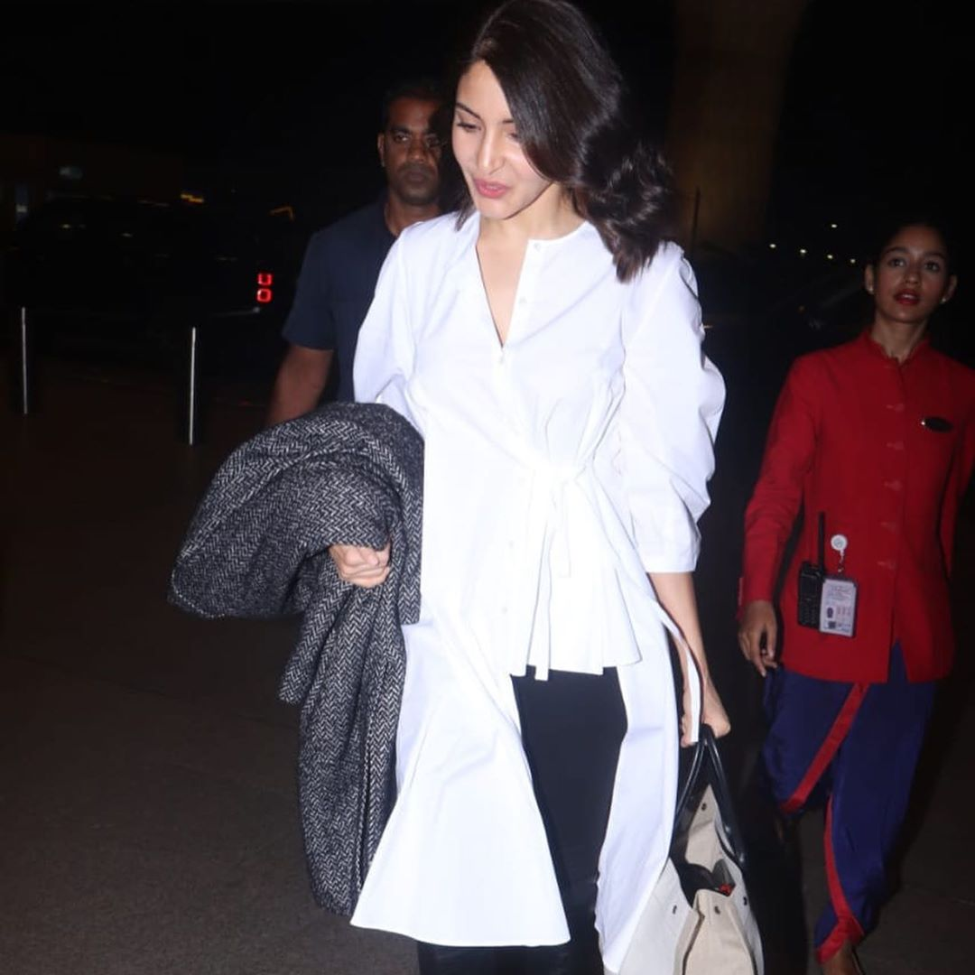 Anushka Sharma Spotted In A Long Court Dress At The Airport