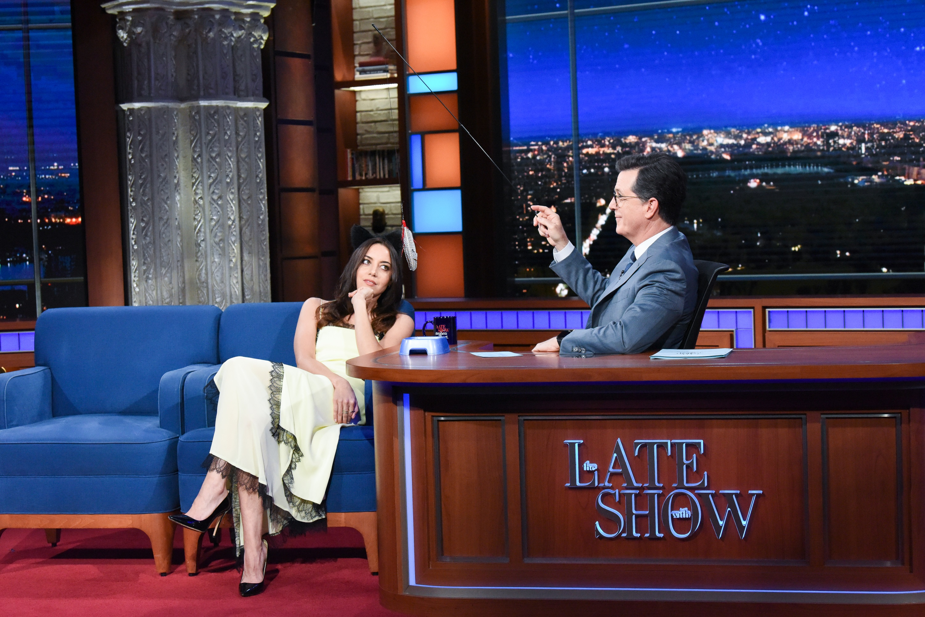Aubery Plaza At The Late Show With Stephen Colbert