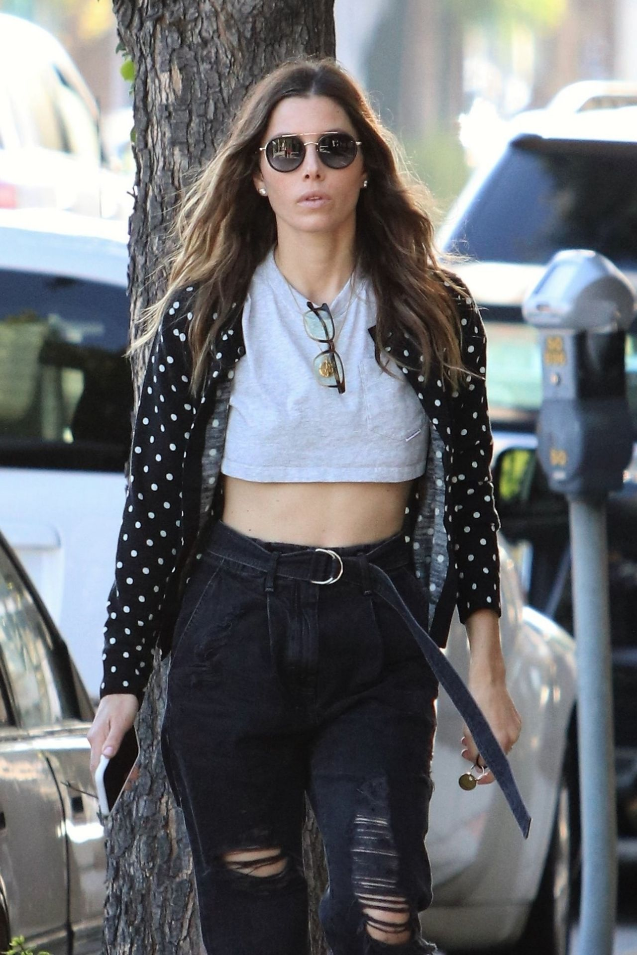 Jessica Biel Shows Her Tummy While Walking On The Street
