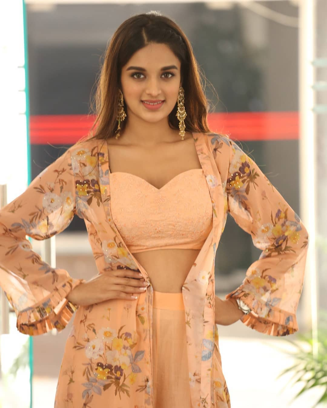 Niddhi Agerwal Hot In Cream Colour Dress