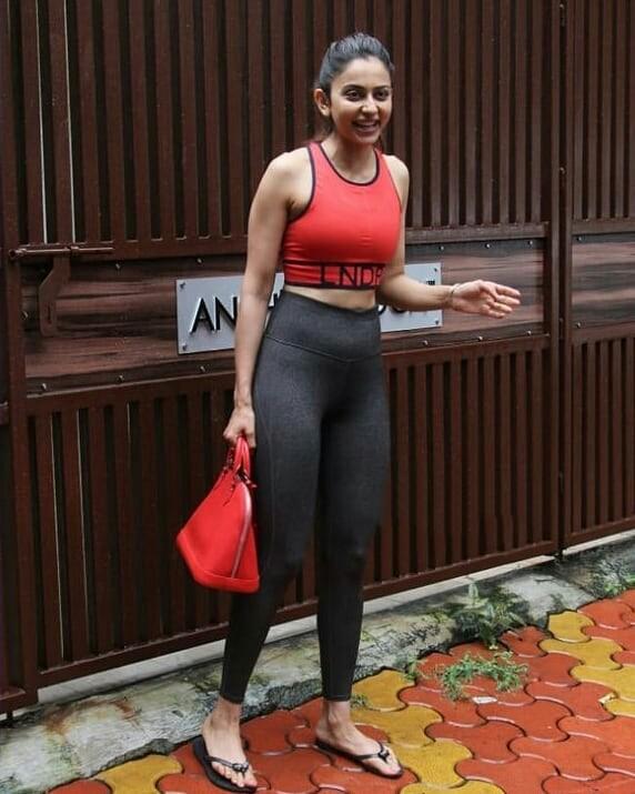 Rakul Preet Hot In Tight Pilates Dress