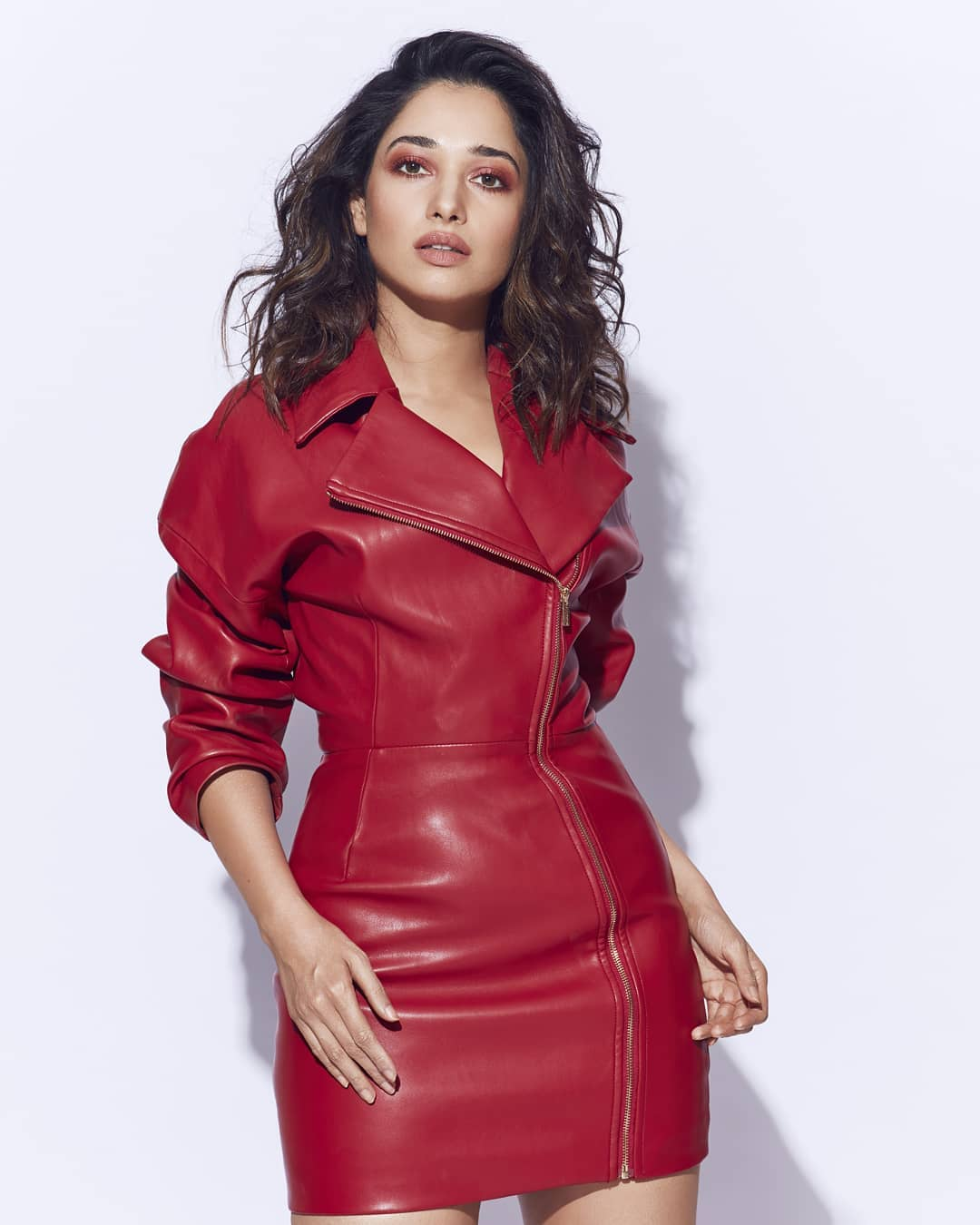 Tamanna Hot In Red Leather Dress