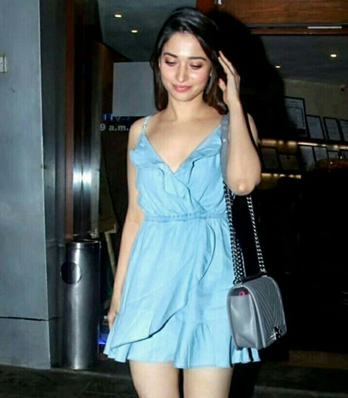 Tamannaah In A Short Blue Frock Exposing Her Milky White Thighs