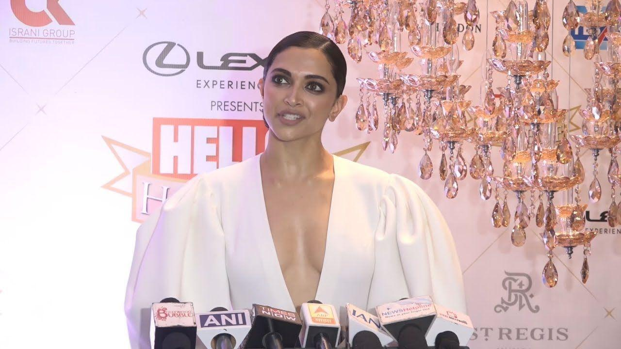 Deepika Padukone Hot In Deep Neckline Dress At Hello Hall Of Fame Awards 2018