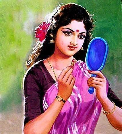 50 Most Beautiful South Indian Woman Oil Painting