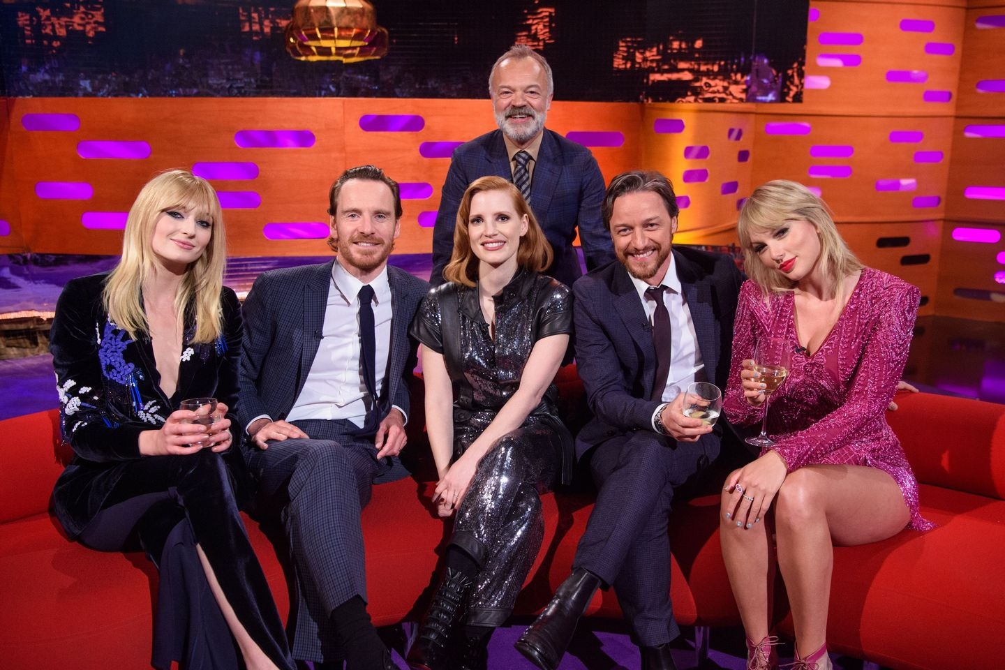 Jessica Chastain and Taylor Swift with X Men crew at The Graham Norton Show