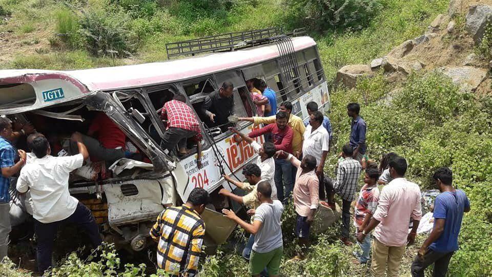 Kondagattu bus accident: 54 pilgrims killed in Telangana as RTC bus falls into gorge