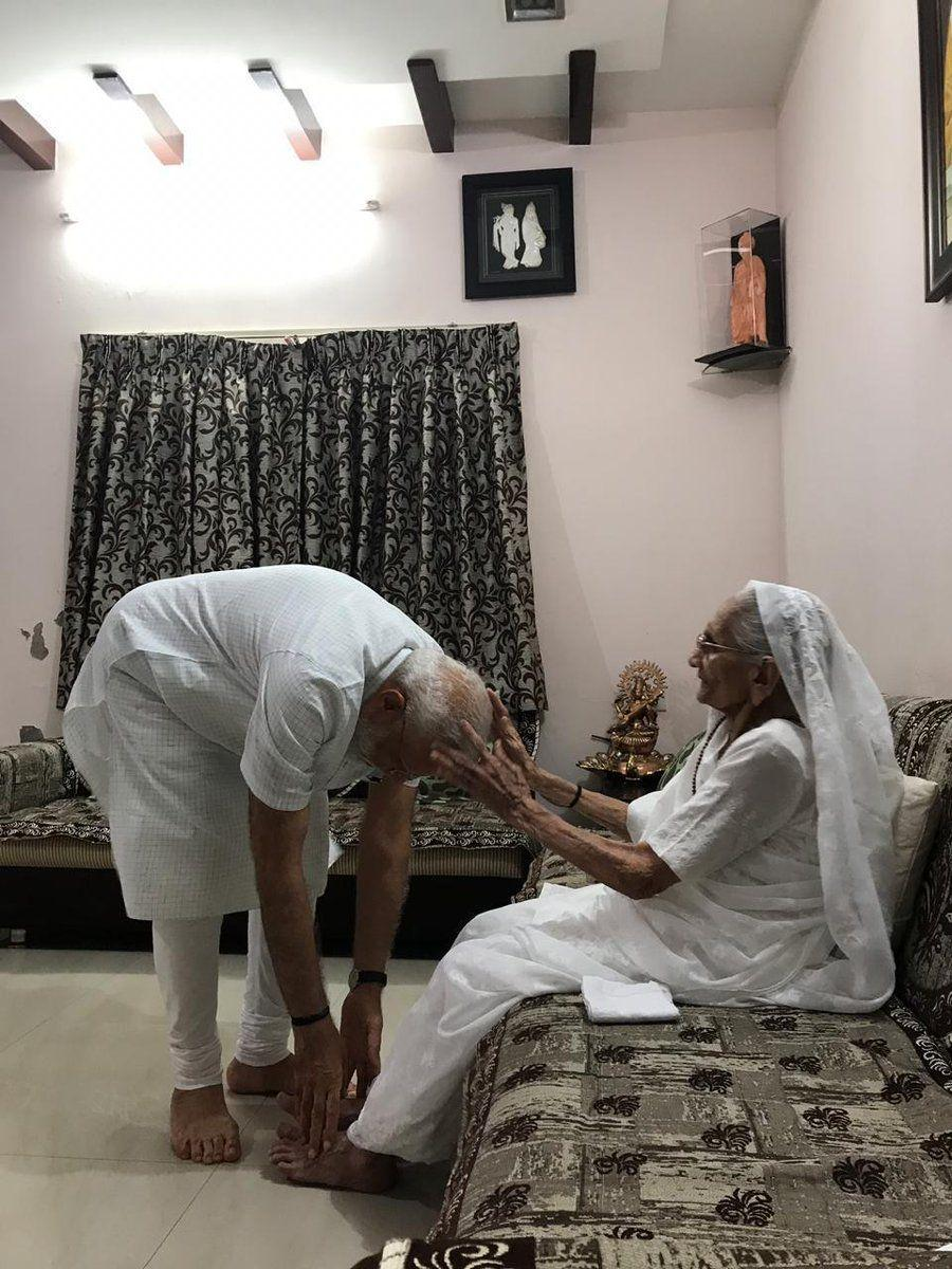 PM Modi meets his mother Heeraben Modi and seeks her blessings