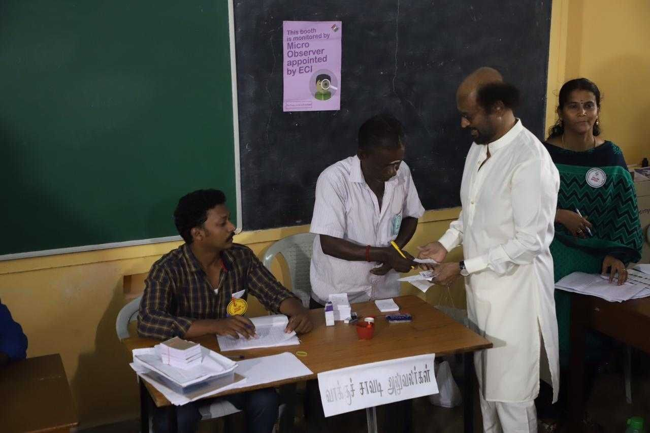 Tamil Stars Arrive To Cast Their votes