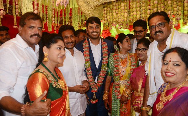 YS Jagan blesses the new bride and groom