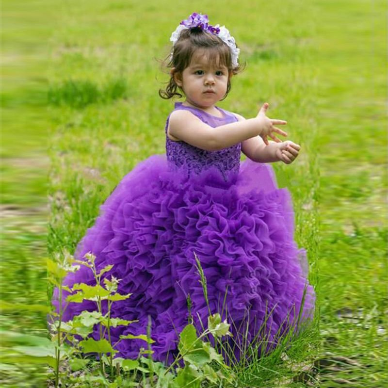 3d526669b Cute Baby Girl In Purple Dress