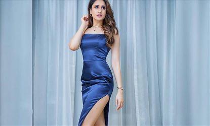 Hot Pragya Jaiswal In Thigh Revealing Blue Slit Cut Dress