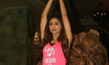 Shilpa Shetty Demonstrates A Yoga Asana