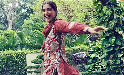 Sonam Kapoor Looks Cute In Traditional Maroon Dress