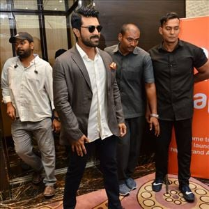 PHOTOS: Ram Charan at Happi Mobiles brand endorsement launch in Hyderabad
