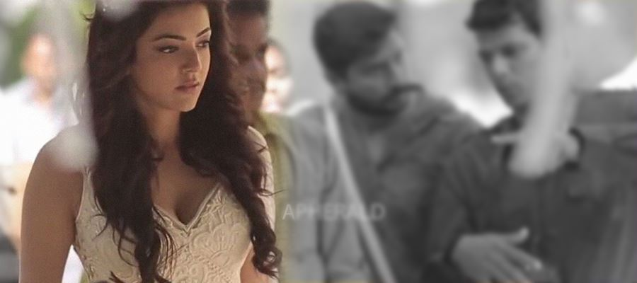 Kajal Aggarwal's Cleavage revealing 'Grand Costume' for a Brand Shoot - Crowd gathered to see 'A Glimpse'