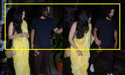 Shruti Haasan spotted in a Sleeveless Saree along with her Boyfriend - View Pics!