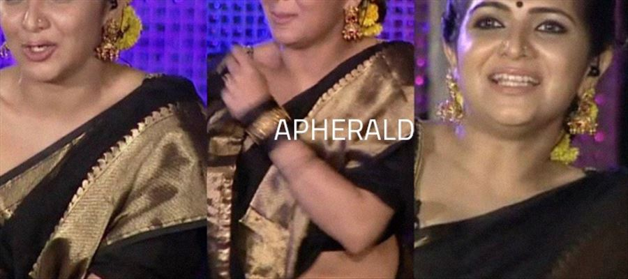 14 HD Photos of Sexy Anchor DD in Black Saree will tease your temptations