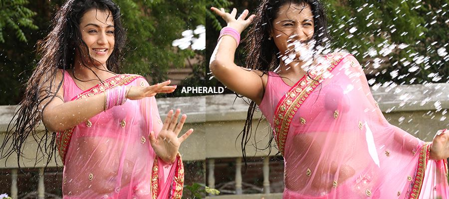 TRISHAAAA - Tempts you in a Pink Transparent Saree by getting WET and EXPOSING her INNER BEAUTY