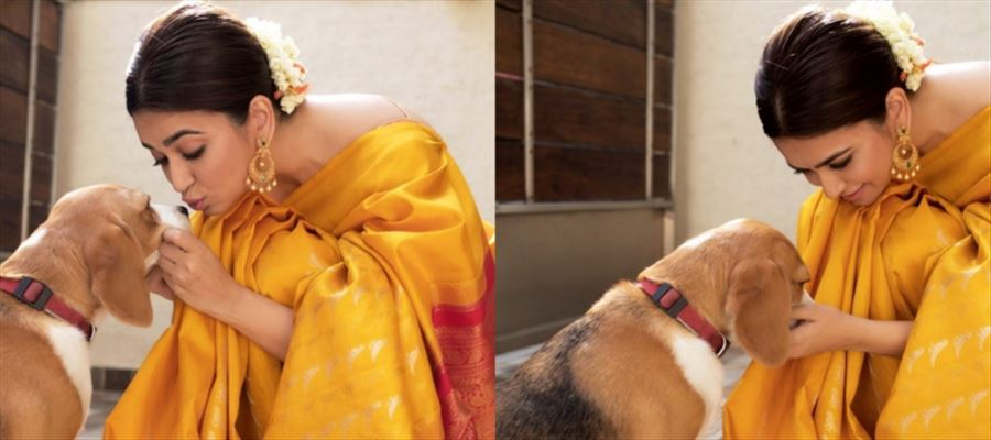 When Ram Charan's Sister was spotted in a Saree and was cuddling a Puppy - 'Adorable' Photos Inside