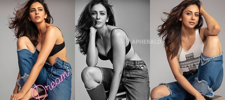 Rakul Preet felt 'SHY' and 'UNCOMFORTABLE' during a Hot Photoshoot while wearing a Bra and Denim alone - Photos Inside