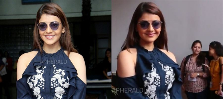 Whooaa.... These 7 Photos of Kajal Aggarwal with Knee-High Skirt, Short Hair, Blue shades will be a FEAST for your Eyes