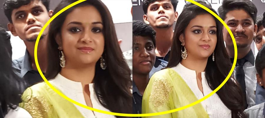 Keerthy Suresh spotted in a White Chudi at a Shopping Mall - Photos Inside