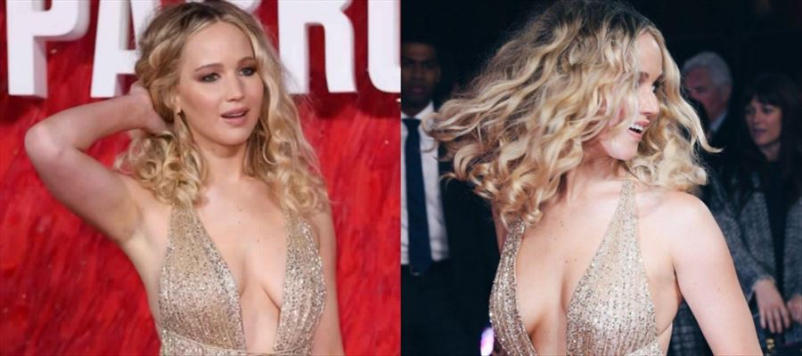 'X-Men', 'The Hunger Games' Actress Jennifer Lawrence shows Deep Cleavage at Premiere show of 'RED SPARROW' - View Pics !!