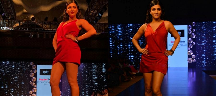 Shruti Haasan sizzles the Ramp in Red Hot Frock - View Photos