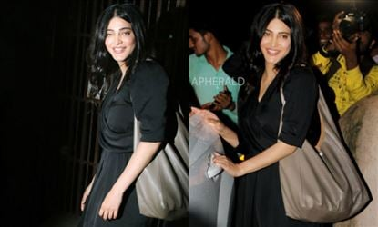 Shruti Haasan caught Red-Handed in Public Oozing 'Oomph' in Black Knee-High Frock - View Pics!