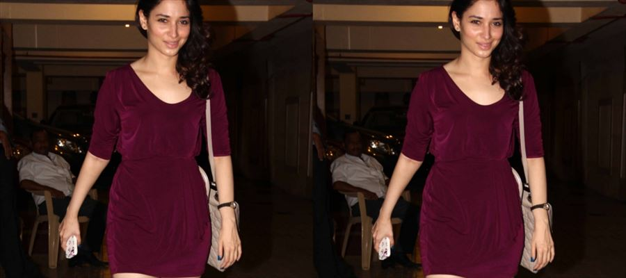 Tamanna exposes her Milky Thighs in a Short Frock in Public and fans flash cameras at her - Photos Inside