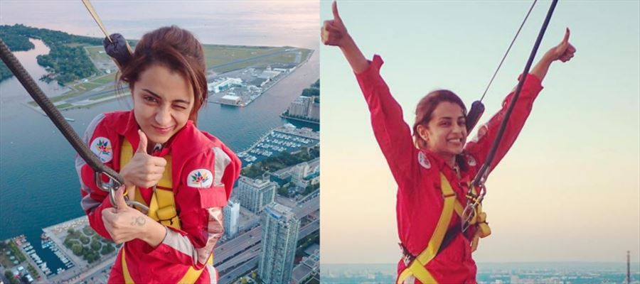OMG... Trisha's Daredevil Attitude at 1164 Ft Height... See these Unbelievable Photos!