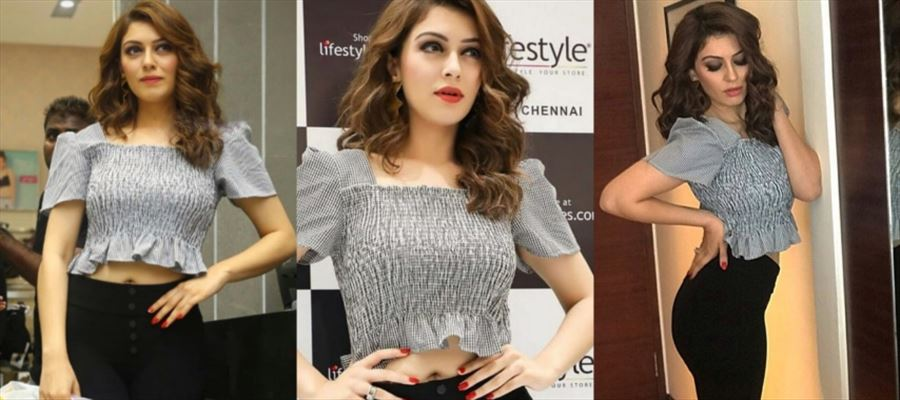 Hansika at a shop opening event in a crop tops - See all Photos