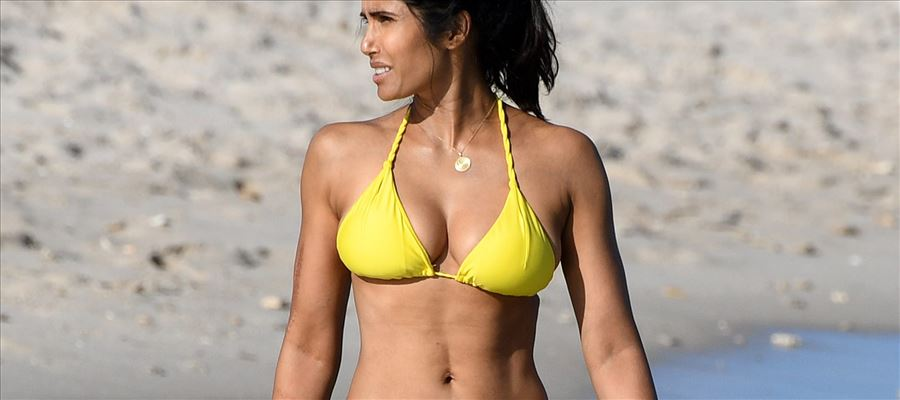 Padma Lakshmi In Hot Lace Bikini At Miami Beach Set 5