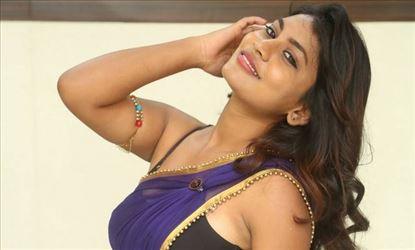 Priyanka Augustin Blue Saree Photo Shoot Stills