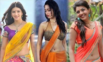 South Indian Actresses In Wet Saree Hot Naval Show Photos Collections