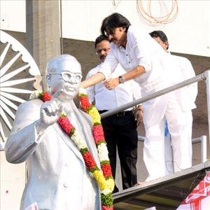 Janasena Chief Pawan Kalyan at Ambedkar Statue Photos