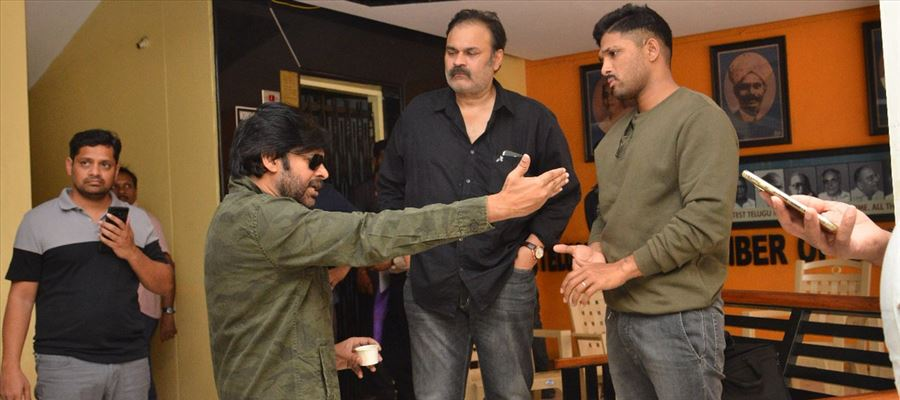 JanaSena Chief Pawan Kalyan with Naga Babu & Allu Arjun at MAA Chamber Photos