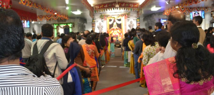 .  Despite freezing cold weather 8000 devotees and visitors thronged the Hindu Temple of Atlanta