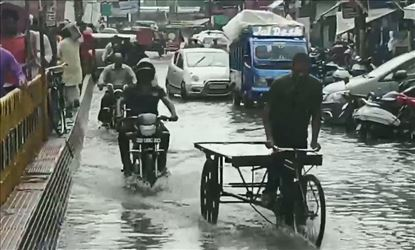 Streets In Moradabad Waterlogged Due To Huge Rainfall
