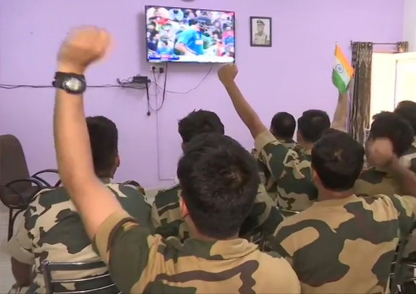 Border Security Force Jawans Cheer For Team India At BSF Head Quarters